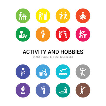 16 activity and hobbies vector icons set included hunting, hydroponics, insect collecting, jewelry making, jumping, jumping to the water, knife making, knitting, lace making, language, listening