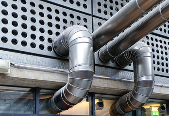 Industrial architecture, functional details: steel wall panels and pipes