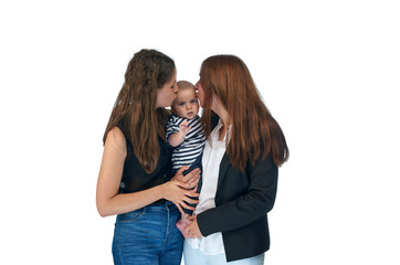 Lesbian mothers with their baby. Homosexual family, lesbian love.
