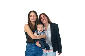 Lesbian love, young lesbian mothers with their baby. Homosexual family.