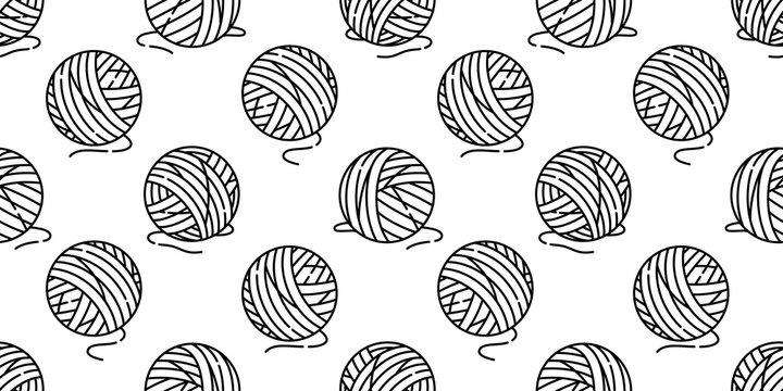 yarn ball seamless pattern vector balls of yarn knitting needles cat toy repeat isolated wallpaper tile background cartoon illustration