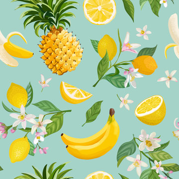 Seamless Tropical Fruit pattern with lemon, banana, pineapple, fruits, leaves, flowers background. Hand drawn vector illustration in watercolor style for summer romantic cover, tropical wallpaper