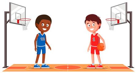 basketball court with basketball players.