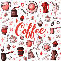 Cartoon hand-drawn doodles on the subject of cafe, coffee shop theme seamless pattern. Colorful detailed, with lots of objects background. Sketch elements for you design