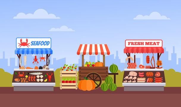 Street food market vegetable fruits meat and fish. Vector flat cartoon graphic design illustration