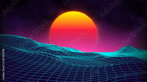 Retro background futuristic landscape 1980s style  Digital