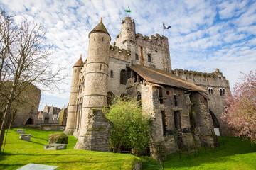 Fototapete - Gravensteen Castle in Ghent, Flanders, Belgium
