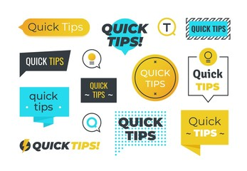 Advice shapes. Quick tips helpful tricks emblems and logos, tip reminder banner design helped information. Vector set of helpful advices badges