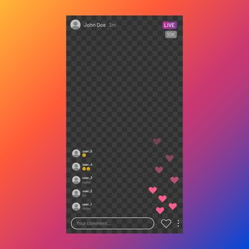 Instagram stream interface. Social media live streaming service, mobile app frame UI, live video. Vector stories UI broadcast design images template