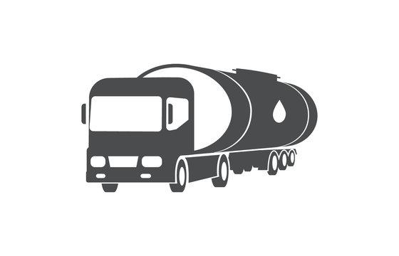 Oil truck, cargo, delivery service symbol.