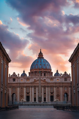 Sunset View of Saint Peters Basilica and Street Via della Conciliazione in Vatican, Rome, Italy