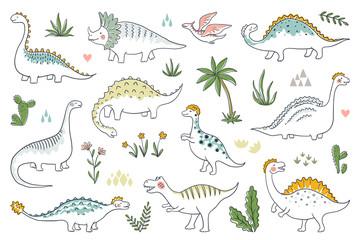 Trendy doodle dinosaurs. Cute outline dino babies set, funny cartoon dragons and Jurassic dinosaurs. Vector prehistoric lizards illustration