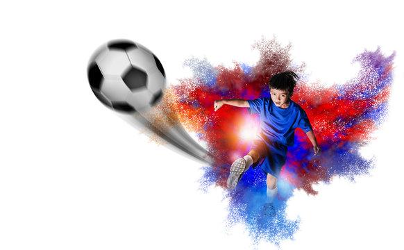 Youth Soccer Football Players. Footballers Kicking Football.