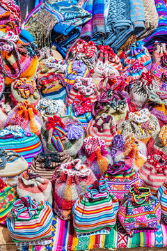 Textile products on sale in Chinchero street of Urubamba Province in Peru.