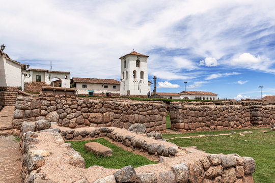 Church of Our Lady of Nativity and old Inca complex walls in Chinchero, Peru