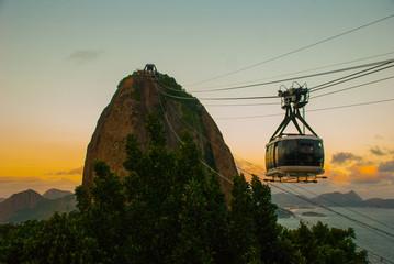 Rio de Janeiro, Brazil: Cable car and Sugar Loaf mountain in Rio de Janeiro