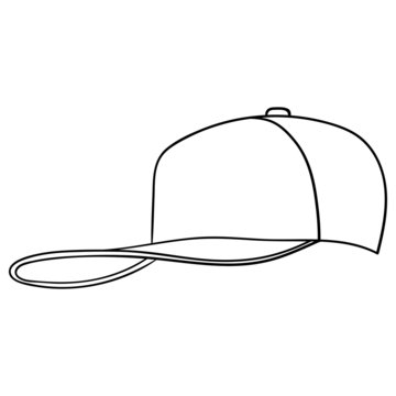 Vector comic drawing of a baseball cap in black and white. isolated.