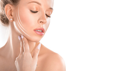 Close up photo of smiling woman with closed eyes and lines on face. woman touch her face. Cosmetics procedures concept