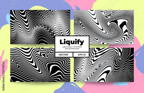 Abstract swirl liquify line pattern collection  background template