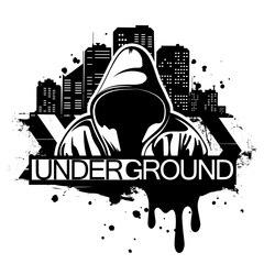 Urban style illustration of man in hoodie behind city silhouette. Street art style. T-shirt print design.