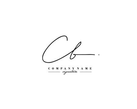 C B CB Signature initial logo template vector