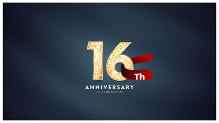 16th Anniversary celebration - Golden numbers with blue fabric background