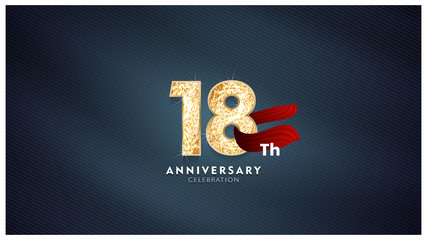18th Anniversary celebration - Golden numbers with blue fabric background Wall mural