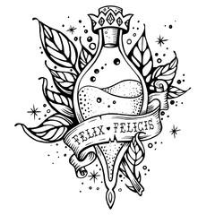 Harry Potter magic flask. Line art beautiful tattoo. Felix Felicis. Good luck potion