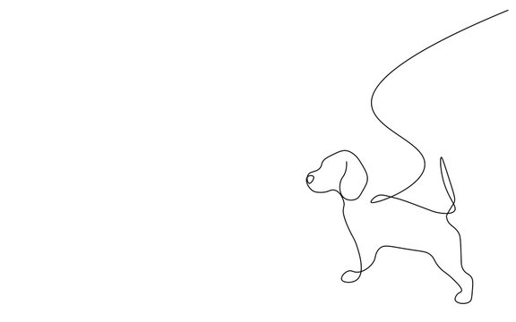 Beagle puppy silhouette line drawing vector illustration