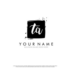 T A TA initial square logo template vector