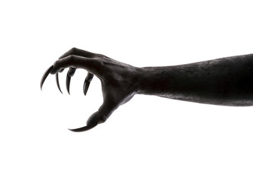 Creepy monster claw isolated on white background with clipping path