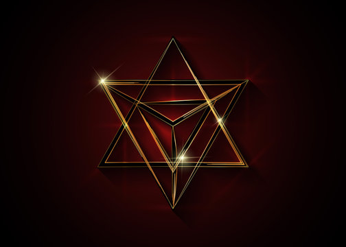 Sacred geometry. 3D gold Merkaba thin line geometric triangle shape. esoteric or spiritual symbol. isolated on dark red background. Star tetrahedron icon. Light spirit body, wicca esoteric divination