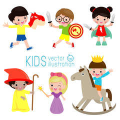 Set of cute kids wearing costumes isolated on white background, Little children in their fairy tale Costumes, kid play in costume ,child and fairytale story, Vector illustration