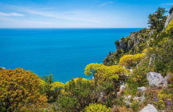 Scenic mediterranean seascape with cliffs at Palinuro, Cilento, Campania, southern Italy.