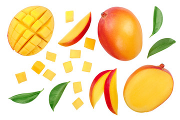 Mango fruit half with slices isolated on white background. Set or collection. Top view. Flat lay