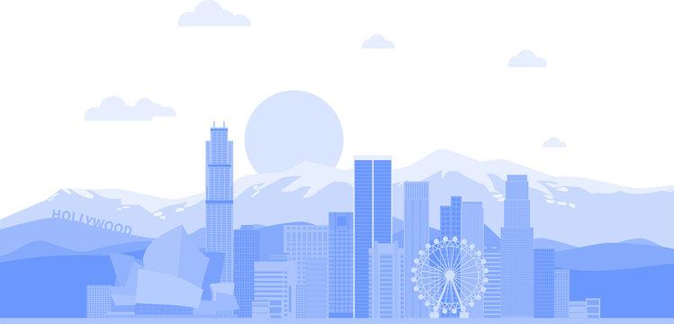 Los Angeles (United States) city skyline vector background. Flat trendy illustration - Vector