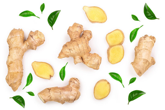 fresh Ginger root and slice isolated on white background. Top view. Flat lay