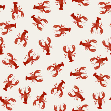 Crawfish seamless pattern. Flat illustration of red lobsters.