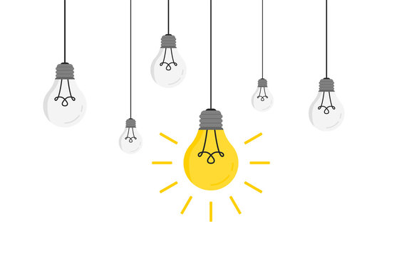 Hanging light bulbs with glowing one Vector illustration for your design. Trendy flat vector light bulbs icons with concept of idea