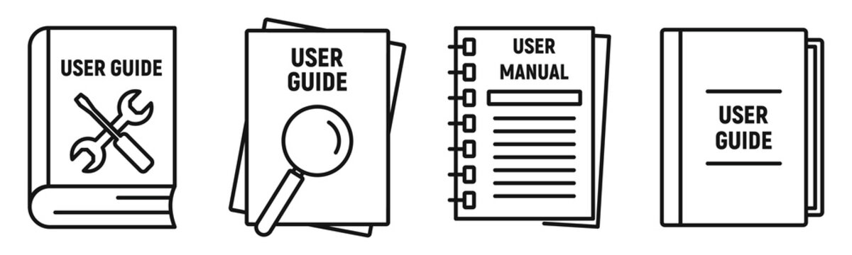 User guide book icons set. Outline set of user guide book vector icons for web design isolated on white background