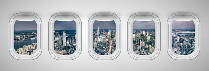 New York City at night as seen through five aircraft windows. Holiday and travel concept