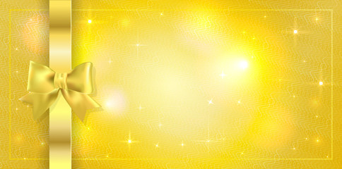 Volume template of Golden ticket, Gift Certificate, Gift Voucher. Holiday reward card design with sparkles stars on golden background tied with ribbon with gold bow. Concept for Coupon, event