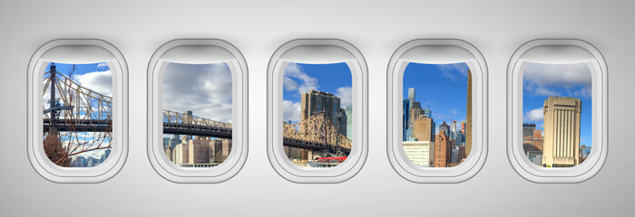 Queensboro Bridge in New York City as seen through five aircraft windows. Holiday and travel concept