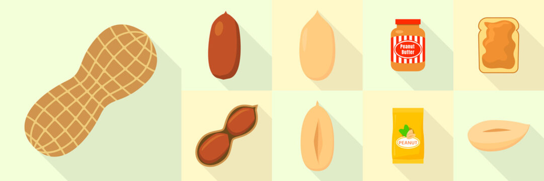 Peanut icons set. Flat set of peanut vector icons for web design