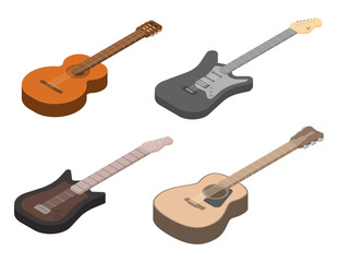 Guitar icons set. Isometric set of guitar vector icons for web design isolated on white background