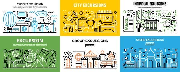 Excursion banner set. Outline set of excursion vector banner for web design