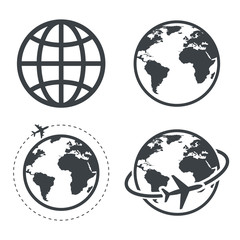 Earth icon collection. Globe. Vector