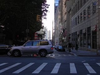 Keuken foto achterwand New York TAXI traffic signal and car on street of the city