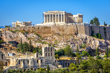 Acropolis hill with Parthenon temple, Athens, Greece Fototapete