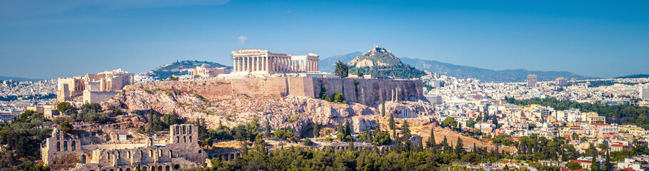 Fototapete - Panorama of Athens with the Acropolis hill, Greece
